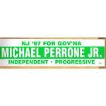 NJ 1R - NJ '97 For Gov'Na Michael Perrone Independent Progressive  Bumper Sticker