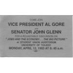Clinton 130A - Come Join Vice President Al Gore and Senator John Glenn Paper Card