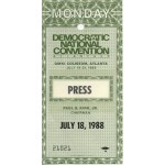 Dukakis 44A - Democratic National Convention Atlanta 88 Press Pass