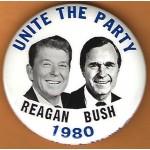 Reagan 18J -  Unite The Party  Reagan Bush 1980 Campaign Button