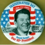 Reagan 48D - Inauguration Day Ronald Reagan Our 40th President Campaign Button