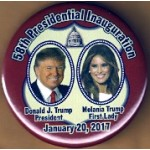 R32M - 58th Presidential Inauguration  Donald J. Trump President  Melania Trump First Lady Campaign Button