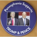 Trump 1N - Pennsylvania Supports  Trump & Pence Campaign Button