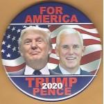 Trump 10G - For America Trump Pence 2020 Campaign Button