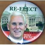 IN 2N - Re-Elect Governor Mike Pence Campaign Button