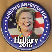 Hillary Clinton 2016 campaign button.