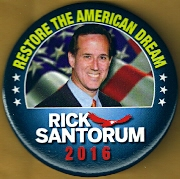 Rick Santorum 2016 campaign button.