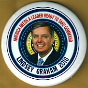 Lindsey Graham 2016 campaign button.