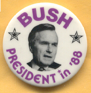 George Bush 1988 campaign button.