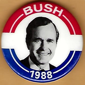 George HW Bush for President campaign button 1988