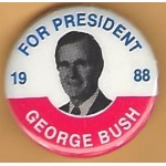 Bush 10F - For President  1988 George Bush Campaign Button