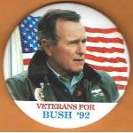 Bush 40D -  Veterans  For Bush '92 Campaign Button
