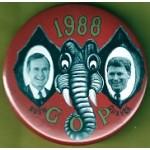 Bush 5J - Bush Quayle GOP 1988 Campaign Button