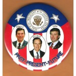Bush 9J - Past - Present - Future Ronald Reagan George Bush Dan Quayle  Campaign Button