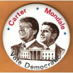 Carter 15L - Carter  Mondale Vote Democratic Campaign Button