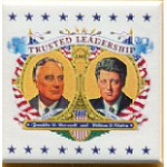 Clinton 42A  - Trusted Leadership 1997 Franklin D Roosevelt William J Clinton Campaign Button