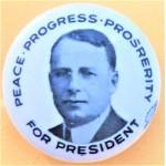 Cox 4B - Peace Progress Prosperity For President Campaign Button