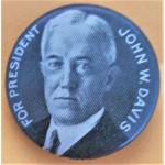 Davis 1A - For President John W. Davis Campaign Button