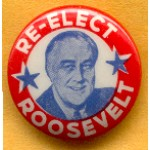 FDR 3B - Re-Elect Roosevelt Campaign Button