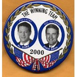 Gore 28 - The Winning Team Al Gore  President Evan Bayh Vice President  2000 Campaign Button