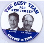 Gore 9 - The Best Team For New Jersey Al Gore Jon Corzine Victory in 2000 Campaign Button