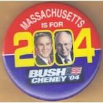 G. W. Bush 34C  - Massachusetts Is For Bush Cheney '04 Campaign Button