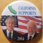 G. W. Bush 37G - California  Supports (Bush Cheney) 2004 Campaign Button