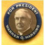 Harding 1D - For President Warren G. Harding Campaign Button