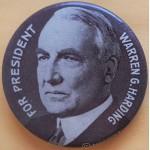 Harding 4E - For President Warren G. Harding Campaign Button
