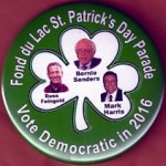 Sanders 4A - Fond du Lac St. Patrick's Day Parade Sanders Feingold Harris Campaign Button