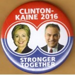 Hillary 9B - Clinton Kaine 2016 Stronger Together Campaign Button