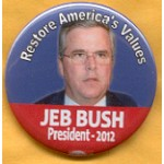 Hopeful 105F - Restore America's Values Jeb Bush  2012 Campaign Button