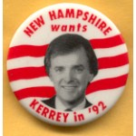 Hopeful 17H - New Hampshire wants Kerrey in '92 Campaign Button