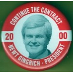 Hopeful 87M - Continue The Contract 2000 Newt Gingrich - President Campaign Button