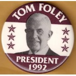 Hopeful 89M - Tom Foley President 1992 Campaign Button