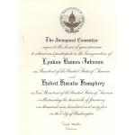 LBJ 8K - Inaugural Committee Lyndon B. Johnson Hubert H. Humphrey January 20th 1965 Paper Inauguration Invitation