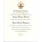 LBJ 7K - Inaugural Committee Lyndon B. Johnson Hubert H. Humphrey January 20th 1965 Paper Inauguration Invitation