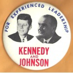 Kennedy JFK 24L - For Experienced Leadership Kennedy And Johnson  Campaign Button