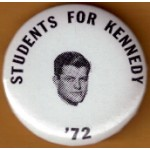 Kennedy EMK 15N - Students For Kennedy  '72 Campaign Button