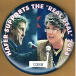 "Kerry 27D - Hafer Supports The ""Real Deal"" 2004 Campaign Button"
