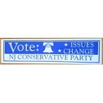 NJ 55C - Vote Issues Change NJ Conservative Party  Bumper Sticker