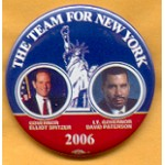 NY 7C - The Team For New York Governor Elliot Spitzer Lt. Governor David Paterson Campaign Button