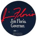 NJ 9T - Jim Florio. Governor.  Paper Sticker