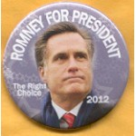 Romney 7B - Romney For President The Right Choice 2012 Campaign Button