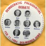 Mondale 15A  - Democratic Presidential Debate Feb. 11, 1984  Campaign Button
