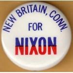 Nixon 95J - New Britain Conn. For Nixon Campaign Button