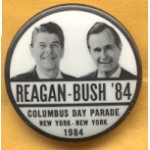 Reagan 19C - Reagan - Bush '84 Columbus Day Parade New York  New York 1984 Campaign Button