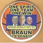 Trump 18G - President Trump Mike Braun Vice President Pence Nov. 5, 2018 Campaign Button