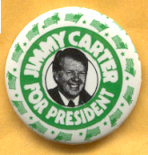 Jimmy Carter for President campaign button with green and white classic color scheme.